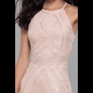 Light Millennial Pink Sequin Halter Mini Dress